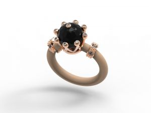 Le Corone Onyx 925 silver ring plated in rose gold with a black ceramic ball with crystal rhinestones. Two spare silicone bands are provided.Online Shop